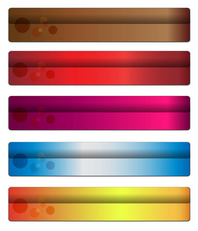 header label: Five banners with warm colours for your website, vector.