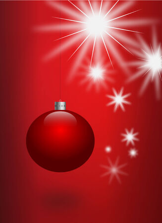 christmasball: Illustration of red christmas ball over a red background