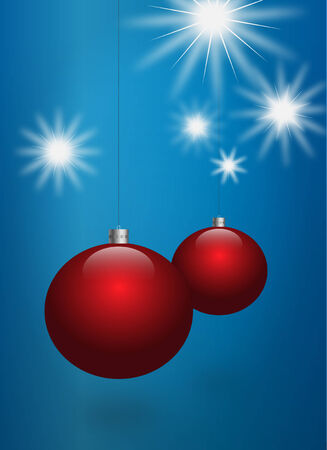 christmasball: Illustration of red christmas balls over a blue background