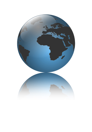 earth logo: Logo 3d globe with blue color and a shadow Illustration