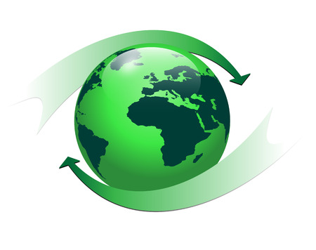 corporate world: Logo 3d globe with green color and two arrows