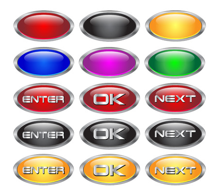 aquabutton: Set of glass and metallic blank oval web buttons - clean render from a vector Illustration
