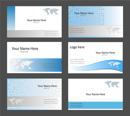Six corporate business card templates white, blue and grey with world map theme Vector