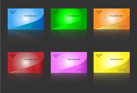 business card template: Business card templates six colour variants - editable vector