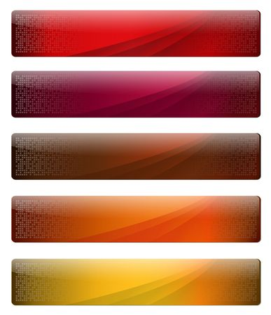 Five, gelly and glossy banners with warm colours for your website, vector. photo