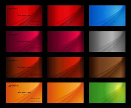 Business card templates many colours - vector Stock Photo - 5997348