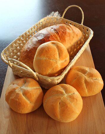 Crispy bread rolls, in a basket,  Stock Photo - 6051531