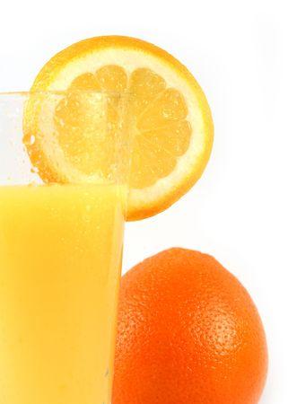 Fresh orange juice and orange  isolated on white photo