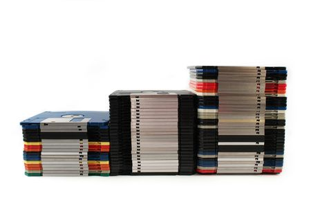 discs: Floppy discs in stacks isolated on white Stock Photo