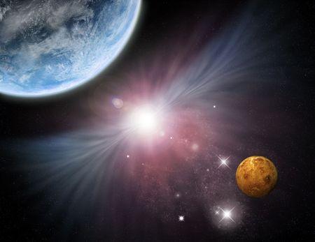 starfield: Beautiful starfield with planets and nebula - fictional spacescifi scene.