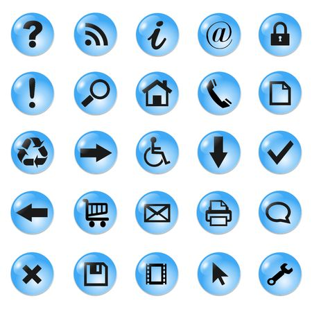 shopping questions: Set of shiny, button icons � blue glass.