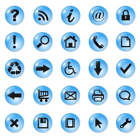output: Set of shiny, button icons � blue glass.