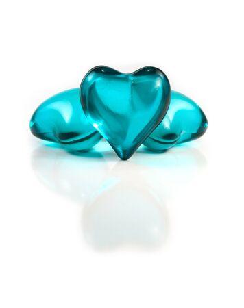 白影で青いガラスの心 写真素材