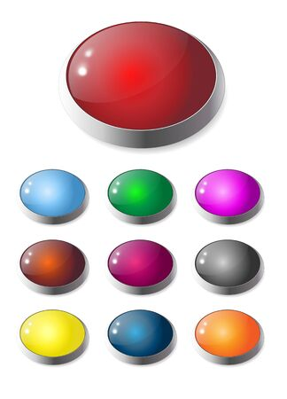 Set of colorful, gell and glass web buttons photo