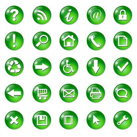 Set of shiny, button icons � green glass. photo