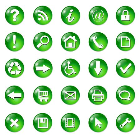 input output: Set of shiny, button icons � green glass.