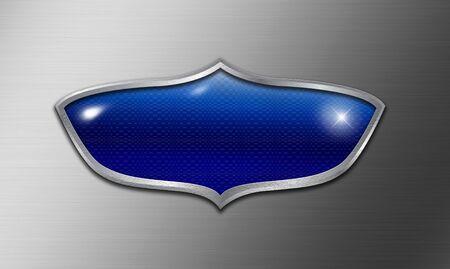 brushed aluminum: Empty blue shield logo on brushed metal background Stock Photo