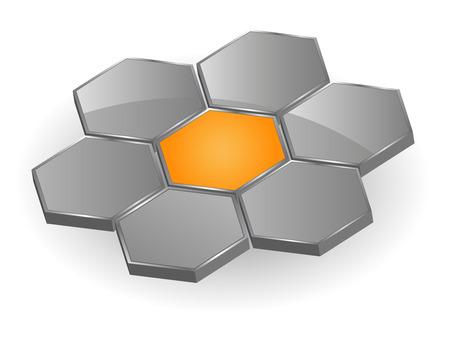 Logo, seven hexagons, orange and grey - vector Vector