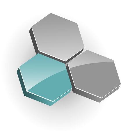 intentie: 3D-vector logo, zeshoeken, groen en grijs goed uitziende vector logo voor je bedrijf.  Stock Illustratie