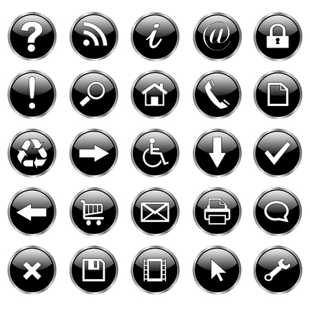 Set of 25 shiny, web buttons, icons � black glass. Vector