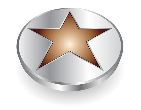 3D logo - silver and metallic star - dynamic modern logo Vector