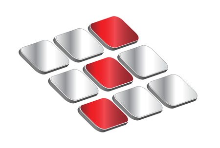 technology symbols metaphors: 3D logo - red and silver cubes, dynamic logo for your business Illustration