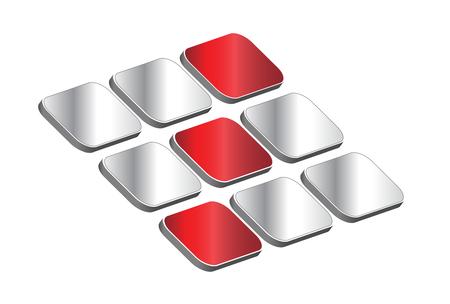 loghi aziendali: Logo 3D - cubi rossi e argento, logo dinamico per il tuo business