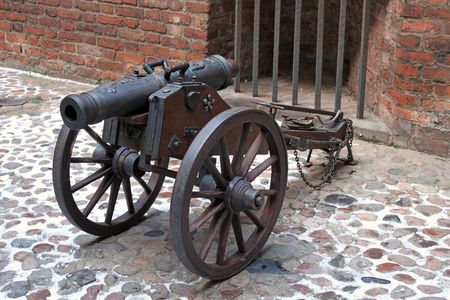 privateer: Old medieval cannon at gdansk museum Stock Photo
