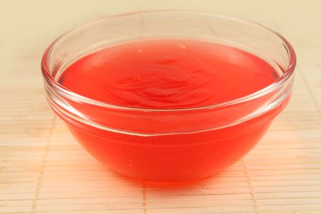 gelatin: Gelatin red strawberry dessert close up