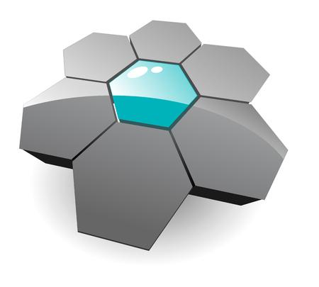 intentie: Business, corporation 3d logo - grijs zeshoeken. Stock Illustratie