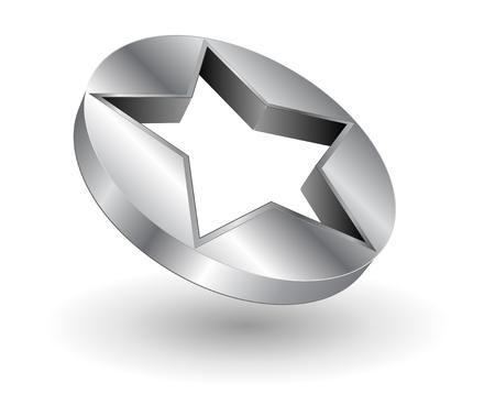 Logo - 3D  metallic star Stock Vector - 6206615