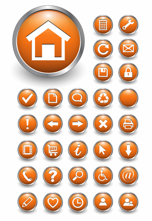 Set of 32 shiny, orange glass web buttons, icons.