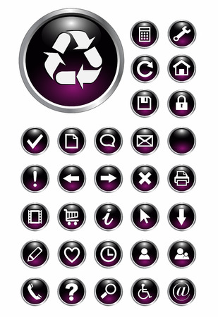 input output: Set of 32 shiny, glass web buttons, icons.