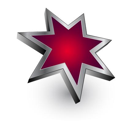 red metallic: 3D logo - red metallic star - dynamic modern logo. Illustration