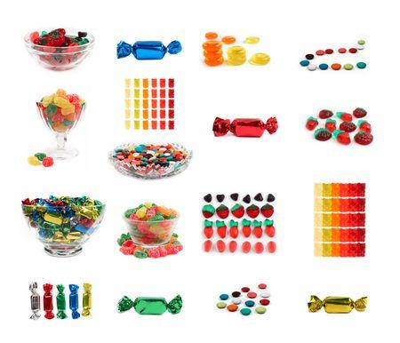 17: Conjunto de 17 candys aisladas de colorido y dulces de gelatina