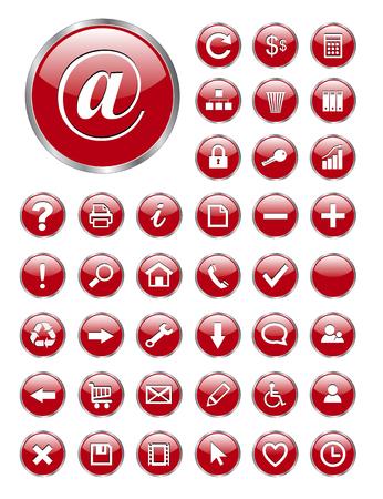 Web icônes rouge en verre pour les affaires et le Bureau.