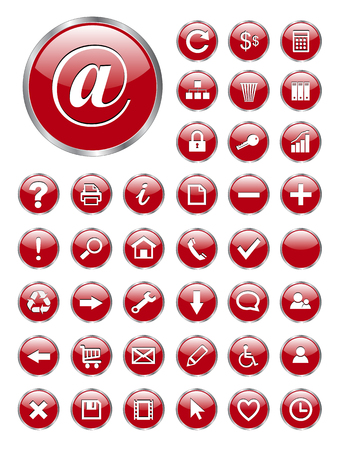 web icons red glass for business and office.  Vector
