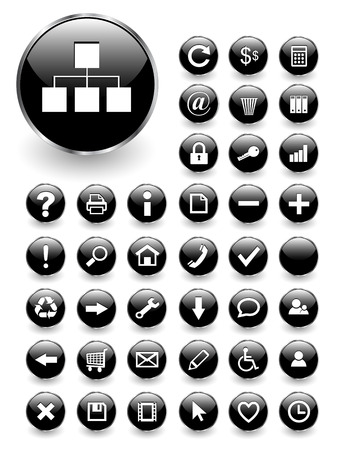 input output: Web icons for business and office  black glass,