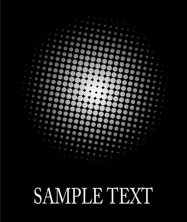 Hlftone, dot pattern white sphere over black good as background, editable. Vector