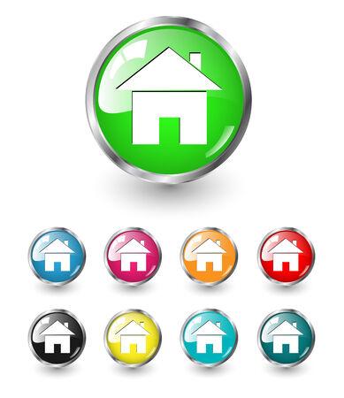 icono inicio: Icono de inicio signo, conjunto multicolor