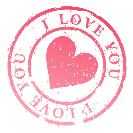 lovingly: Love stamp, heart with words I love you - illustration Illustration