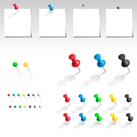 thumb tack: push pin multicolored big collection