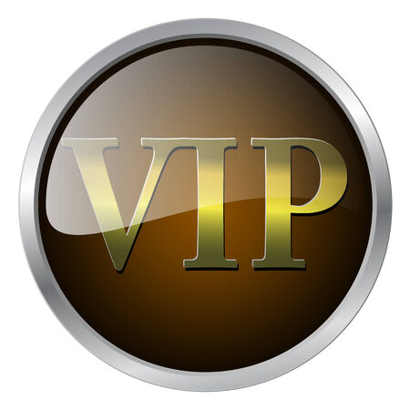 very important person: VIP badge gold and brown with metallic elements, illustration
