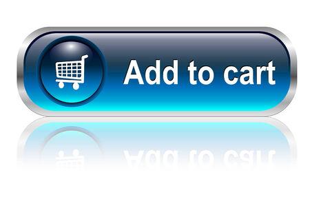 Carro de la compra, comprar el icono botón, azul brillante con sombra, ilustración