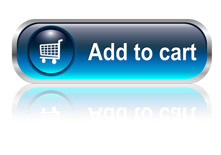 add icon: Shopping cart, buy icon button, blue glossy with shadow, illustration