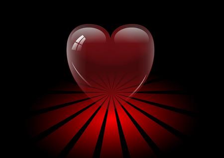 Transparent crystal heart on black background, vector Vector