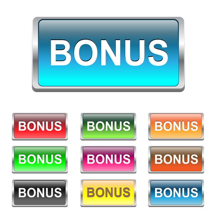 deduct: Bonus buttons multicolored icons set, vector