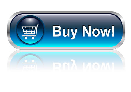 buy: Shopping cart, buy icon button, blue glossy with shadow, vector