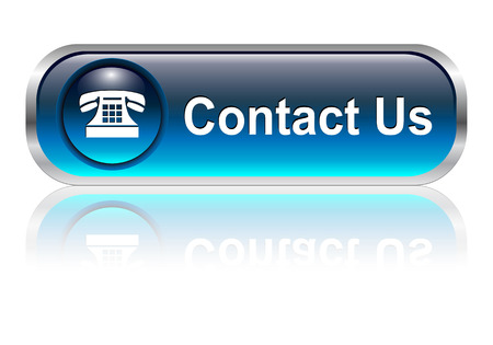 contact icon: Contact us, telephone icon, button, blue glossy with shadow