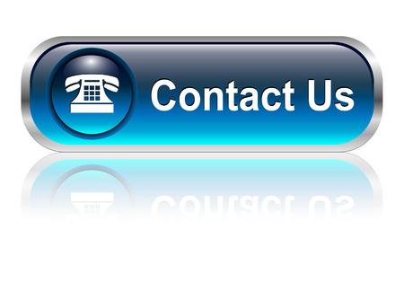 contact icon: Neem contact op met ons, telefoon symbool, knop, blauwe glossy met schaduw